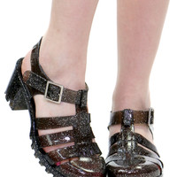 BLACK GLITTER JELLY SANDAL