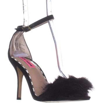Betsey Johnson Harpur Fuzzy Toe Ankle Strap Sandals, Black, 7 US