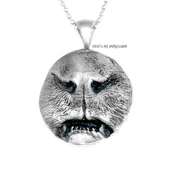 Custom 3D Cat Face Nose and Teeth Imprint Pendant in Sterling Silver, Pet Loss Gifts, Cat Memorial Pendant, Cat Cremation Necklace