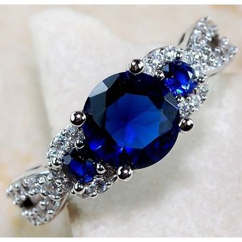 1CT Blue Sapphire & White Topaz 925 Solid Genuine Sterling 925 sterling silver Ring Sz 6-10