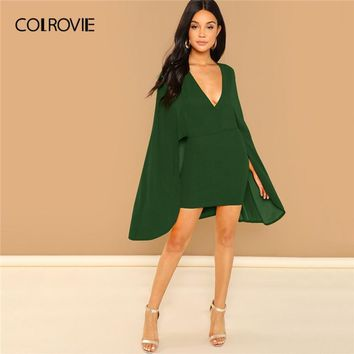 COLROVIE Green Solid Deep V Neck Wrap Bodycon Party Dress Women 2696bacd60bc