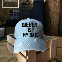 BIEBER is my Bae, Justin Bieber Baseball Cap, Denim Cap, Jean Cap, Alien Cap, Girlfriend gift, Low-Profile Baseball Cap Baseball Hat