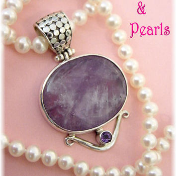 Sterling Silver Amethyst Pendant ~ HONORA White Pearl Necklace - FREE Shipping