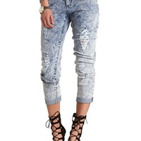 RIPPED ACID WASH CUFFED SKINNY JEANS