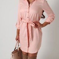 Luela Pink Button Up Shirt Dress