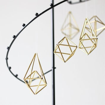 brass himmeli ornaments - set of 6 - hanging mobile - modern mobile - sculpture - geometric - gold - finnish design - home decor