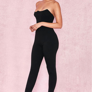 Clothing : Jumpsuits : 'Milli' Black Crepe Corseted Jumpsuit