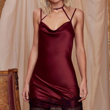 #NASTYGALXCOURTNEYLOVELove, Courtney by Nasty Gal Night Moves Slip Dress - Burgundy