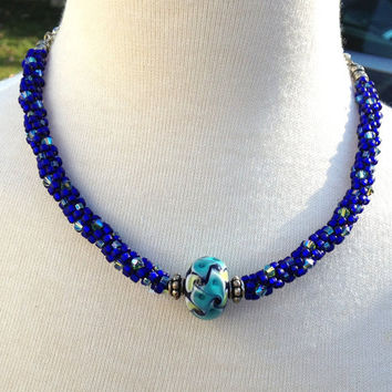Statement Necklace, Cobalt Blue, Beaded Kumihimo