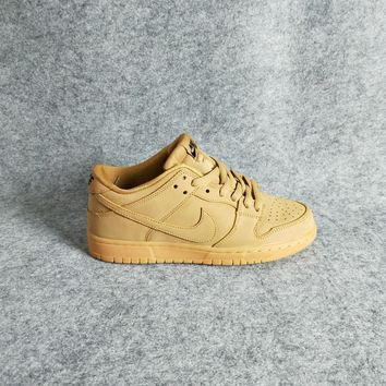 Nike Dunk LOW Premium GS Flax Wheat yellow Women/Men Sport Shoes Casual Sneakers