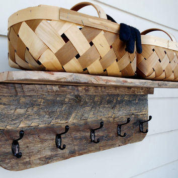 """Wood Coat Rack -Shelf, Rustic Wall Shelf Rack, Very Large, made from Upcycled Pallet Wood,30"""" long, One of a kind."""