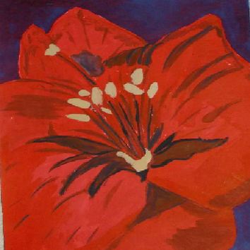 Red Flower  Original Watercolor Painting  flowers art  rose Acrylic Painting  size 16/24 cm  . 6 / 9  Inch