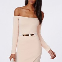 Missguided - Vita Scuba Asymmetric Hem Bardot Bodycon Dress Nude