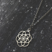 Seed of life, minimal necklace, sacred geometry, mandala necklace, flower of life, everyday necklace, boho necklace, hippie necklace, gift