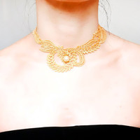 SALE gold/ black lace choker necklace // hand dyed // pearl charm beaded  // gothic punk // gift for her