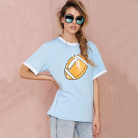 Blue Football Print with Lace T-shirt