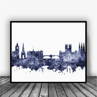 Edinburgh Skyline Black Art Print Poster