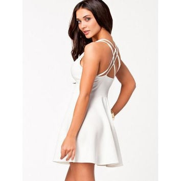 White Plunging Neck Multi-strap Cross Back Skater Dress
