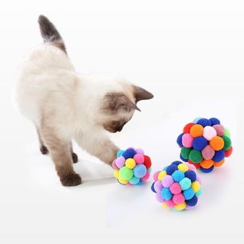 2018 Pet Cats Elastic Ball Toy Handmade Colorful For Indoor Outdoor Cats Training Exercise Ball Interactive Toy 5 Cm/6 Cm/7 Cm