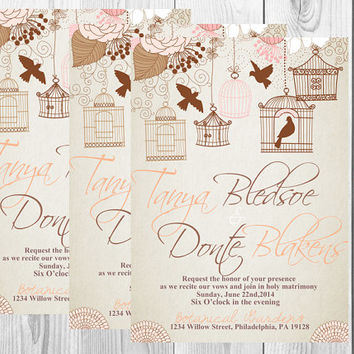 Rustic Birdcage Wedding Invitation/Rustic Wedding Invite/Birdcage/Rustic/Chic/Birds/Peach/Brown/Printable/Digital