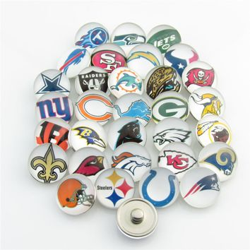 Mixed Sports Football Team Logo Snap Button for 18mm glass Snap Jewelry fit Snap Bracelet/Necklace 32pcs/lot
