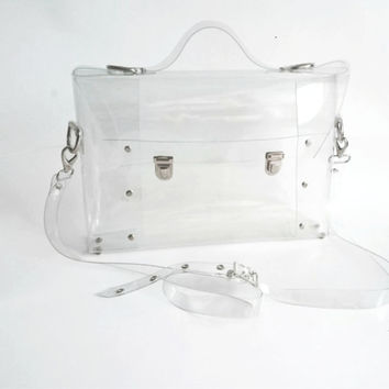 Clear Messenger bag transparent clear satchel clear brief bag clear handbag oversized bag macbook bag waterproof office bag industrial