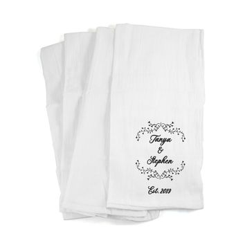 Kitchen Towels Personalized with a Couple's Name and Established Date