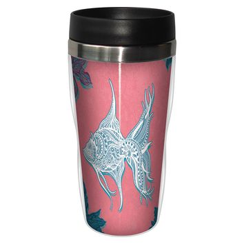 Coral Fish Artful Travel Mug - Premium 16 oz Stainless Lined w/ No Spill Lid