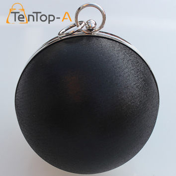 TenTop-A Candy Women Pearl Ball Evening Bags Earth Round Shaped Clutch Purse Clutches Chain Shoulder Handbags Gold Silver Black