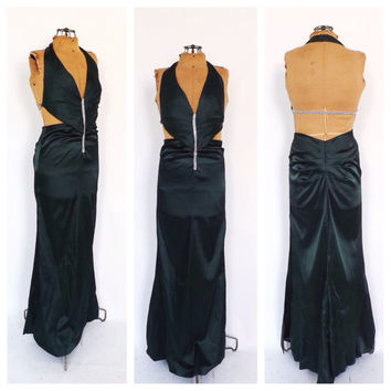 Vintage 90s does 1930s 1940s Green Satin Jeweled Art Deco Dress Old Hollywood Femme Fatale Noir Long Bias Cut Prom Gown Flapper Gatsby Dress