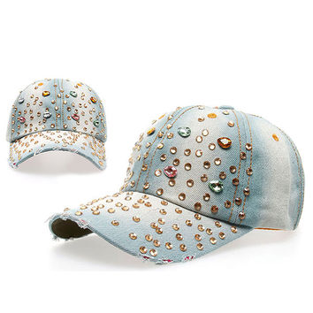 Women Casual Outdoor Sport Hat Bling Spot Drill Cowboy Baseball Cap Peaked Cap