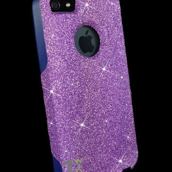 Custom Glitter Case Otterbox for iPhone 5 Orchid Purple/Blue