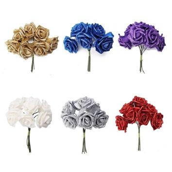 6 Foam Rose Artificial Flower Glitter Bridal Bouquet Home Wedding Decoration flower