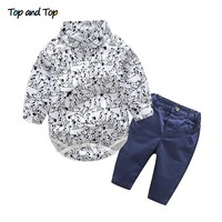 Top and Top newborn baby boy clothes casual baby clothes gentlemen suit long sleeve baby rompers+pants toddler boys clothing