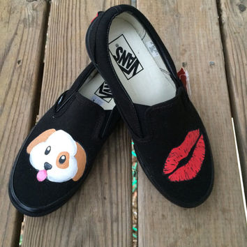 Puppy Kisses Emoji Dog and Lipstick Kiss Emoji Custom Vans Shoes