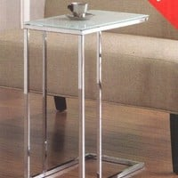 A.M.B. Furniture & Design :: Living room furniture :: Chair side tables :: Chrome finish metal snack chair side end table with frosted glass top