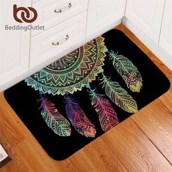 BeddingOutlet Dreamcatcher Carpet Non-slip Soft Rug Mandala Floor Mat Absorbent Bohemian Colorful Feathers Doormat For Bedroom