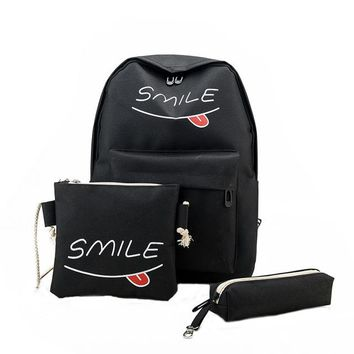 3PCS!! Awesome SMILE Canvas Backpack/Pencil Pouch/Shoulder Bag BLack