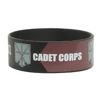 "Licensed cool NEW Attack on Titan Cadet Corps 1"" Wide Rubber Bracelet  Wristband Jewelry Anime"