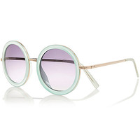 River Island Womens Light blue ombre round sunglasses