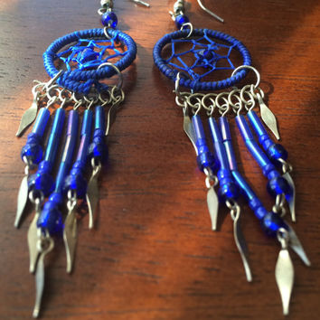 Blue Dream Catcher Earrings