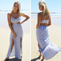 Adjustable Strap Maxi Dress with Slit