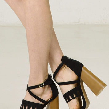 Cutout Strappy Sandal With Block Heel