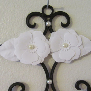 Wrought Iron Hooked Wall Hanger With White Flower Accents and Pearls for the Bling Effect
