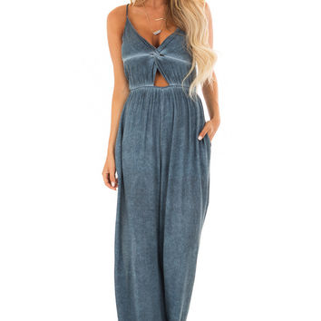 Denim Blue Jumpsuit with Front Cutout and Twist Detail