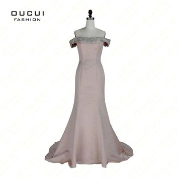 Real Photos Nude Color Beading Handwork Sweetheart Mermaid Prom Dresses With Stones Party Gowns OL102898