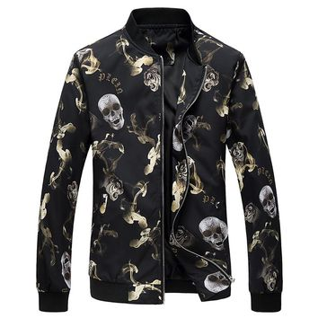 2018 Jacket Men Flower Print Bomber Jacket Fashion Slim Mens jackets and Coats Chaquetas Hombres Jaquetas Bomber Plus Size 6XL