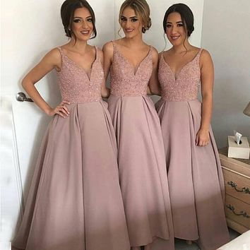 Vestido de Festa V-neck A Line Pink Bridesmaid Dresses Open Back Floor Length Custom Made Long party Gowns Cheap Dresses 2017