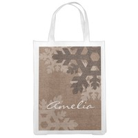 Snowflakes Faux Burlap Chic Rustic Holiday Market Totes
