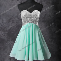 Mint short prom dress, tulle prom dress, champagne prom dress, homecoming dress, custom prom dress